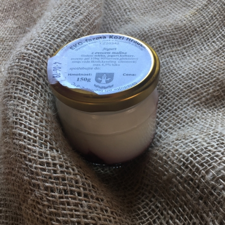 Jogurt s malinou 185g (sklo)