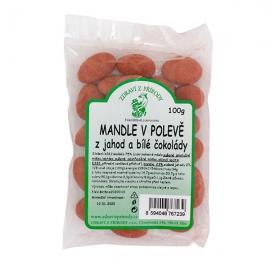 Mandle v polevě z jahod a bílé čokolády ZP 100g